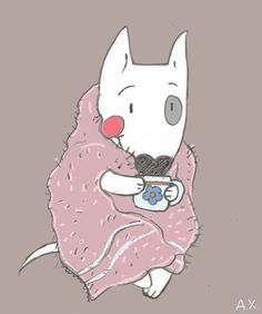Bull Terrier Ferd drinks tea, cozy wrapped in a blanket. Illustration by the Russian artist Daria Khmelevtseva