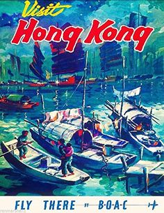 Visit Hong Kong China Chinese Airplane Vintage Travel Art Poster Advertisement A SLICE IN TIME