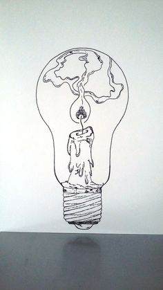 """What if there was a tiny lighthouse inside of every light bulb?What if there was a tiny lighthouse inside of every light bulb? lightbulb drawing lighthouseAffiche Illustration Noir et blanc ampoule """"tenir une Art Du Croquis, Pics Art, Art Design, Doodle Art, Cool Drawings, Pencil Drawings, Art Sketches, Painting & Drawing, Wall Drawing"""