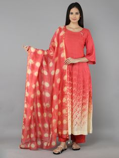 Pink Yellow Cotton Silk Long Kurti with Palazzzo and Chanderi Dupatta - Set of 3 New Kurti, Ethnic Looks, Textiles, Indian Fashion, Bohemian Fashion, Floor Length Dresses, Indian Ethnic Wear, Indian Designer Wear, Cotton Silk