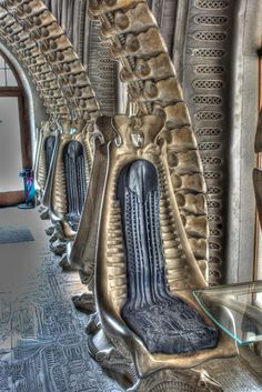 """The interior of the Giger Bar in Gruyeres could easily double for the inside of a spaceship from the movie """"Alien."""""""