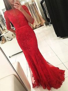 New Trumpet/Mermaid Scoop Neck Tulle Appliques Lace Floor-length 1/2 Sleeve Red Backless Prom Dresses #UKM020103022