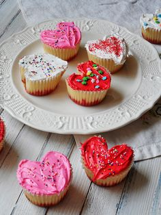 Recipe For Valentine Heart Cupcakes - These Valentine cupcakes are shaped like hearts and no special pan required!