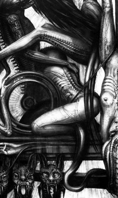 Dive into The Art of H. Giger, a Swiss surrealist painter best known for airbrush images of humans and machines linked together in a cold Hr Giger Art, Giger Alien, Alien Concept Art, Alien Vs, Sculpture, Erotic Art, Dark Art, Amazing Art, Awesome