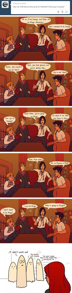 """Or Halloween. These Hilarious """"Harry Potter"""" Comics Ask James And Lily Potter Questions Lily Potter, James Potter, Harry Potter Comics, Harry Potter Jokes, Harry Potter Fandom, Lily Evans, Fandoms Unite, Sherlock, Pokemon"""