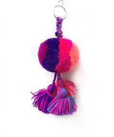 Yarn Keychain and Tassel PomPom / bag tassel / Mexican Pom Pom by PetuniaMX on…