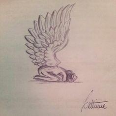 pencil angel. tattoo idea. drawing.