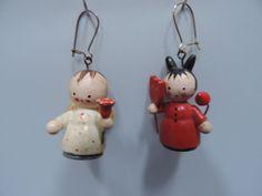 Vtg Earrings Angel Devil Painted Wood Dangle Pierced Ear Wires Novelty Jewelry  #Handmade #DropDangle