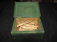 Vintage Toy Wood Box full of Doll Child's Wooden Cloths Pins