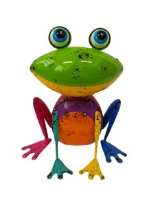 Keep livin up your garden with these colorful Cheeky Jumpy Frog. Bird Sculpture, Sculptures, Cold Meals, Pet Birds, Colorful, Metal, Garden, Animals, Art