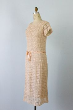 Crochet Dress / 1940s Crochet Knit Dress / by TheVintageMistress