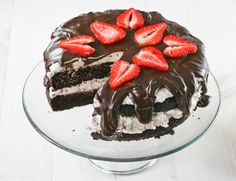 Chocolate Cake with Strawberry Balsamic Whipped Cream
