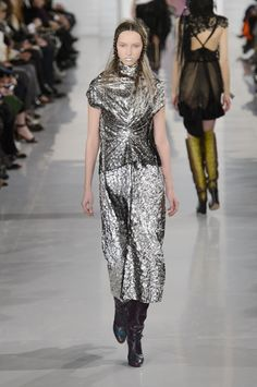 """John Galliano for Maison Margiela SS 2016 Artisanal  Look 21,Model- Liza Ostanina  -Queen of the Silver glow - One of the most refined images of collection. -""""A long dress in silver-lamé """"-MM"""