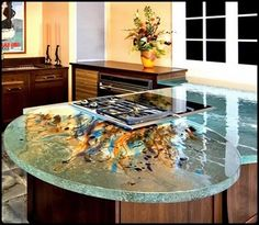 another very unique glass countertop - unique in color, texture and shape