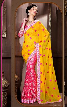 Picture of Gorgeous Fuchsia and Yellow Color Party Wear Saree Online