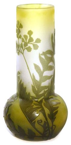 IMAGE: French Galle cameo vase, bulbous, smoke stack form