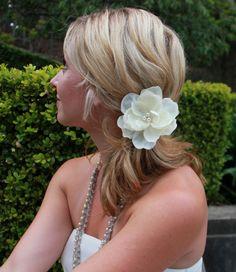 Bridal Hair Flower Ivory Fascinator Wedding Flower by bellaandbeya, $30.00