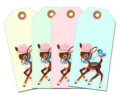 Free printable pastel deer tags by Free Pretty Things For You! Also available with a floral background.