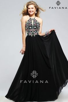 Faviana S7720 Black Bead Detailing Prom Dress #ipaprom