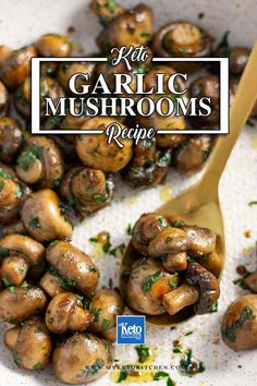 Keto Garlic Mushrooms – Delicious & EASY Pan Fried Recipe – Food for Healty Baked Mushrooms, Bacon Stuffed Mushrooms, Stuffed Peppers, Garlic Butter Mushrooms, Low Carb Side Dishes, Side Dish Recipes, Side Dishes With Steak, Diabetic Side Dishes, Food Dishes