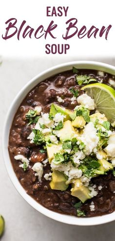 This Easy Black Bean Soup Recipe is made with canned black beans, veggies and a blend of spices. It's a healthy vegetarian and vegan meal that will satisfy everyone, including the meat lovers! #blackbeans #soup #healthyrecipes #healthyliving