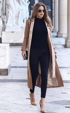 Nada Adelle + silky beige maxi coat + black cigarette trousers + black turtleneck + pair of matching beige flats + shades + Nada's sophisticated style Coat: Lavish Alice, Bag: Rebecca Minkoff, Shoes: Topshop. Source by themodmoiselle turtleneck outfit Outfits Casual, Business Casual Outfits, Office Outfits, Mode Outfits, Classy Outfits, Fall Outfits, Fashion Outfits, Fashion Wear, Sweater Outfits