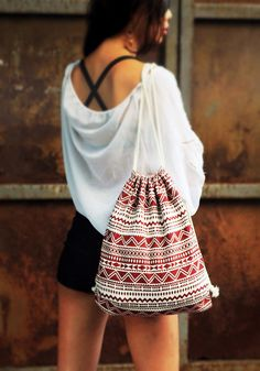 Hippie Bohemian Aztec Canvas Backpack/Boho Gym Bag from BAGGYLOVE by DaWanda.com
