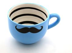 Moustache mug. Perhaps the most perfect moustache mug ever Crackpot Café, Tassen Design, Moustaches, Movember Mustache, Mustache Cake, Paint Your Own Pottery, Cool Mugs, Pottery Painting, My Collection