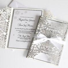 Snowflake Invitations, Glitter Invitations, Laser Cut Wedding Invitations, Invitation Envelopes, Elegant Invitations, Snow Wedding, Wedding Cards, Christmas Wedding, Dream Wedding