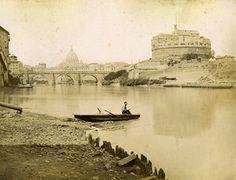 Fisherman on Tiber River Roma Italy Old Photo Brogi 1880