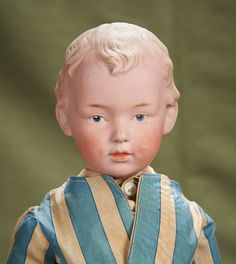 """17"""" (43 cm.) German Bisque Dimpled Character Boy with Sculpted Hair by Heubach...Marks: (sunburst symbol) 7622 6 Germany"""