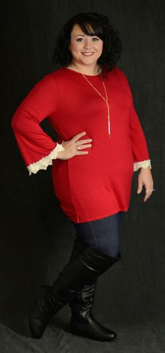 Red Crochet Cuff Top - Curvy Plus Size Boutique - 1