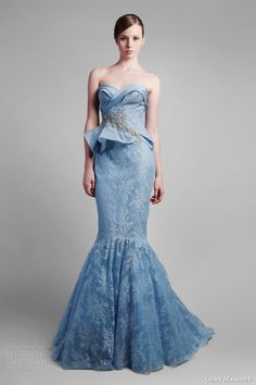 RP: Gemy Maalouf Spring Summer 2014 Couture Strapless Blue Bridal Gown   Peplum    jαɢlαdy