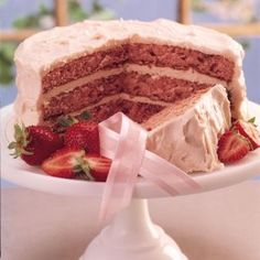 Fresh Strawberry Triple Layer Cake Recipe (from scratch) - Strawberry cake Strawberry Cake From Scratch, Strawberry Layer Cakes, Homemade Strawberry Cake, Strawberry Cake Recipes, Cake Recipes From Scratch, Strawberry Buttercream, Buttercream Recipe, Frosting, Layer Cake Recipes