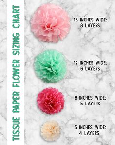 The ultimate guide to learn how to make tissue paper flowers. Photo and video tutorial, plus sizing charts, hanging tips and creative ways to use tissue paper flowers! This is SOOOO handy. #crafts #paperflowers #tissuepaper #tutorials