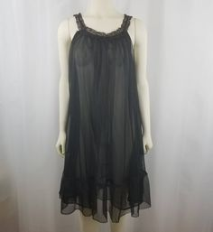 c263c36a4fe Vintage Black Sheer Chiffon Babydoll Nightgown Nightie Lace Ruffle Small  Pinup Negligee