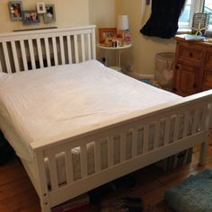 White wooden double bed frame on Gumtree. Gorgeous white wooden double bed frame- FRAME only - Easy to assemble- only a year old- excellent co