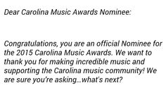 Ashley MarShell Ratliff  April 28  · Just got word that I've been officially nominated by the fans for a CMA! S/O to my supporters and the Carolina Music Awards 2015! #SOLD coming soon. — with Omar McCallop.