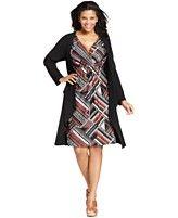 Elementz Plus Size Long-Sleeve Layered Printed Dress