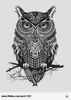 "Owl tattoo design… well this isawesome! i would some how incorporate an ""A"" in the middle.LOVE!!"