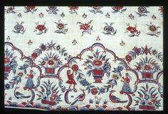 Coton peint et imprimé, fragment de jupon. Inde, cote de Coromandel, milieu XVIIIe siècle. ( MADOI - inv. TEX.1987.81).