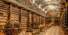 The Klementinum library in Prague, Czech Republic The Klementinum library, a beautiful example of Baroque architecture, was first opened in 1722 as part of the Jesuit university, and houses over 20,000 books. It was voted as one of the most beautiful and majestic libraries in the world !
