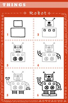 A piece of paper and pencil is all you need to try this 6 step robot drawing…hope you will try it. Enjoy!