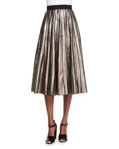 Marc Jacobs Pleated Metallic Leather Skirt