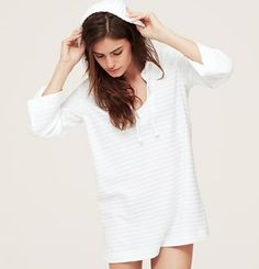 LOFT Beach Striped Hooded Terry Cover Up