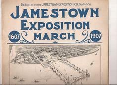 Jamestown Exposition March, Vintage Sheet Music, Samuel E. Simmons, Norfolk…