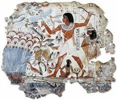 Fragmento de la escena de caza en el pantano de la tumba de Nebamun en el Museo Británico