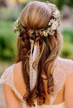 Crown hairstyles, wedding hairstyles for long hair, pretty hairstyles, br. Romantic Wedding Hair, Wedding Hair Down, Wedding Hair Flowers, Wedding Hair And Makeup, Flowers In Hair, Bridal Hair, Wedding Scene, Prom Flowers, Wedding Crowns