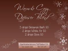 fall essential oil diffuser blend:  3 drops cinnamon bark, 2 drops white fir, 2 drops clove  www.onedoterracommunity.com   https://www.facebook.com/#!/OneDoterraCommunity