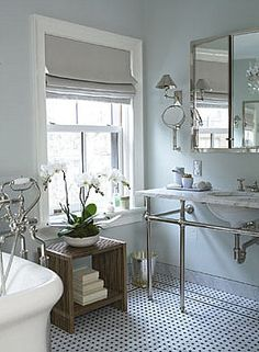 Source Unknown {gray and white art deco classic vintage modern bathroom} by recent settlers, via decorating before and design bathroom design decorating Bathroom Blinds, Laundry In Bathroom, White Bathroom, Classic Bathroom, Modern Bathroom Design, Bathroom Designs, Bathroom Ideas, Art Deco Bathroom, Bathroom Interior